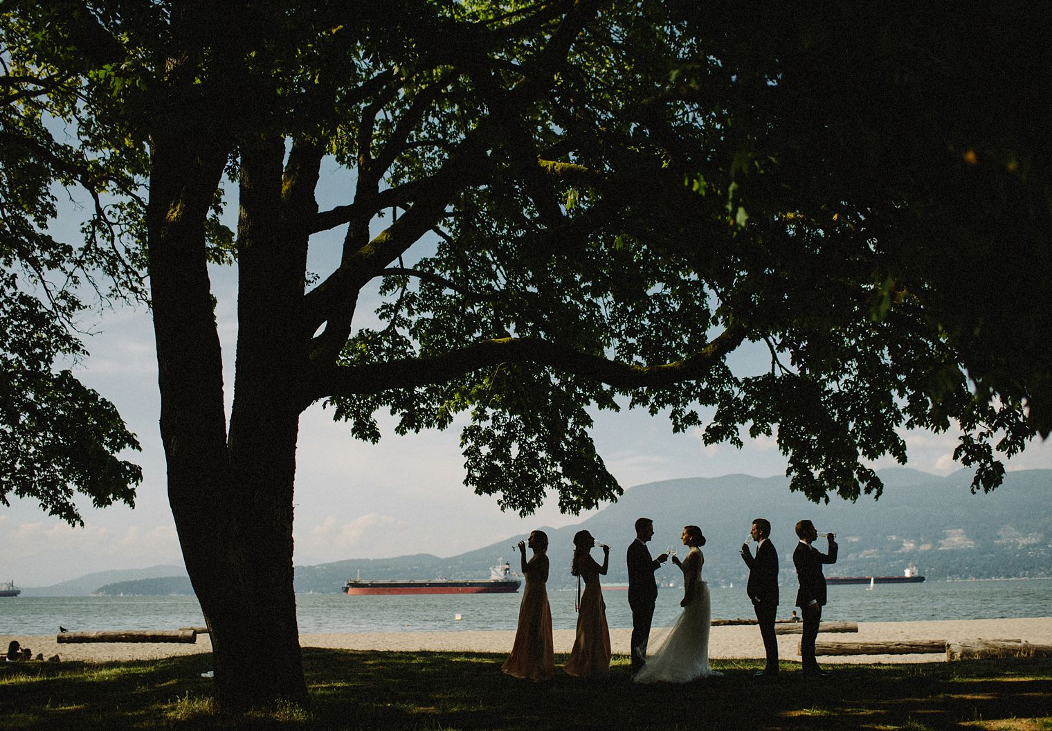 unique beach wedding party photo