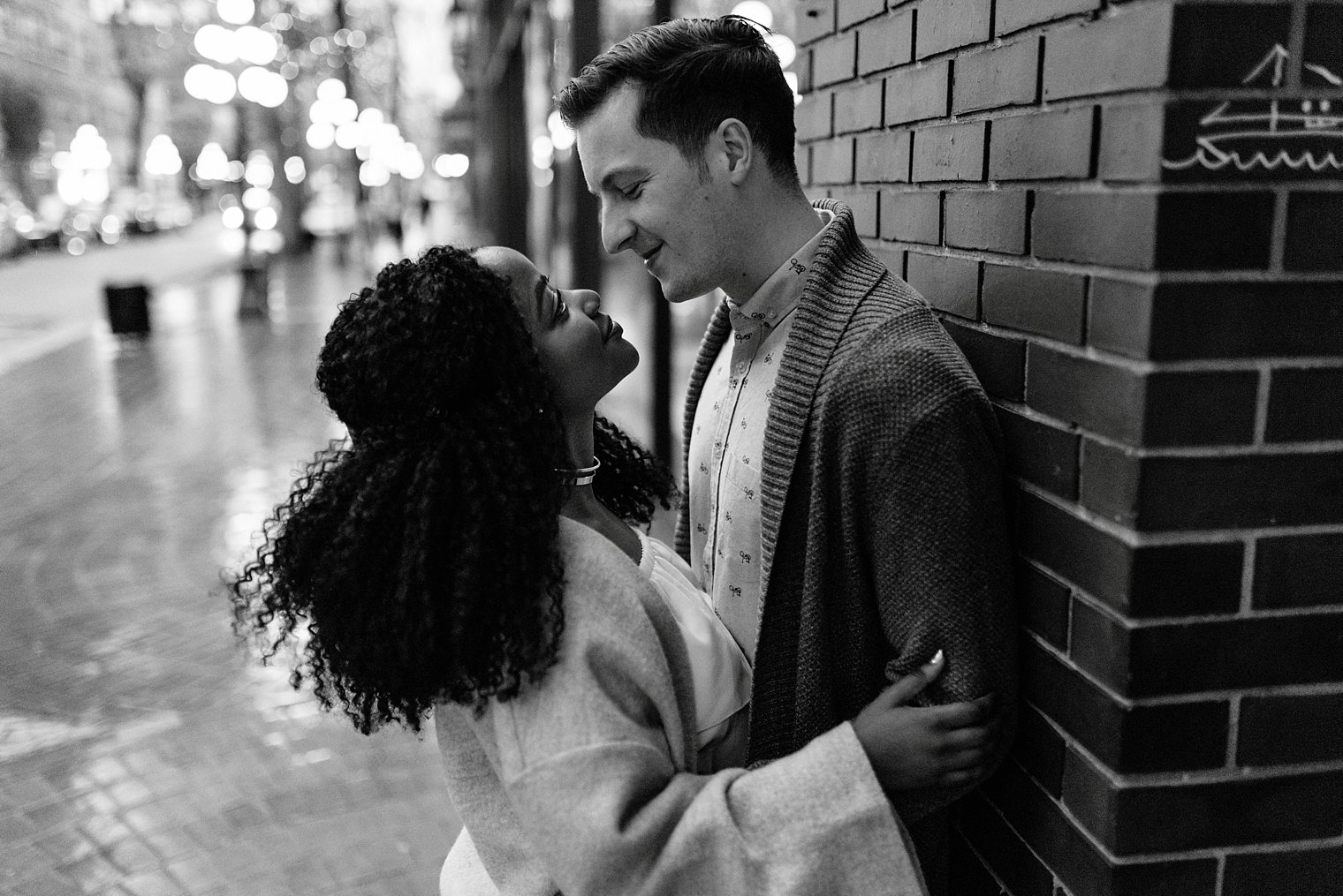 evening engagement session in gastown