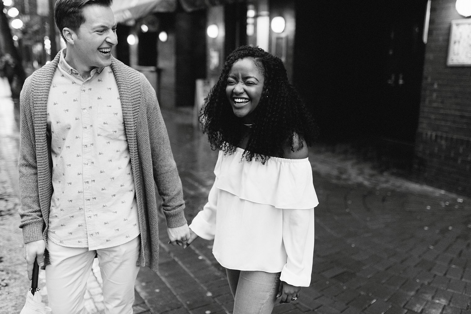 candid gastown engagement portraits