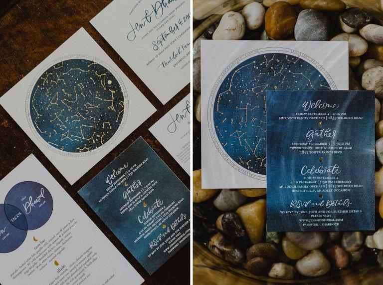 constellation wedding stationary