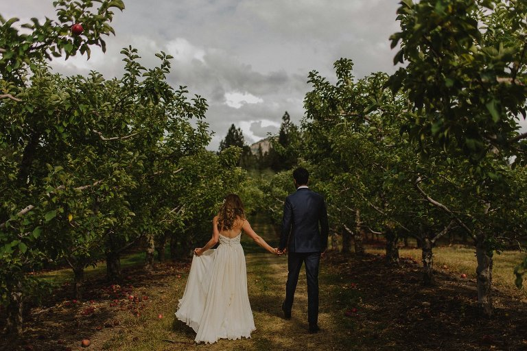 north american indian wedding in an orchard