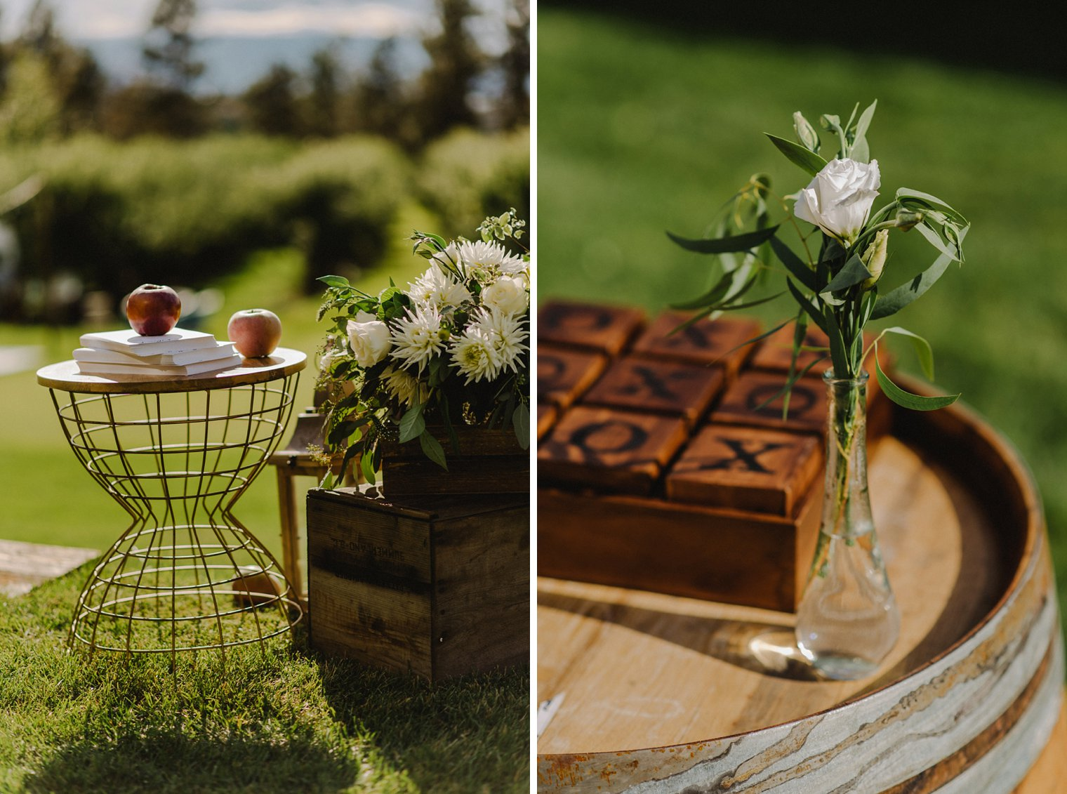 unique orchard wedding details