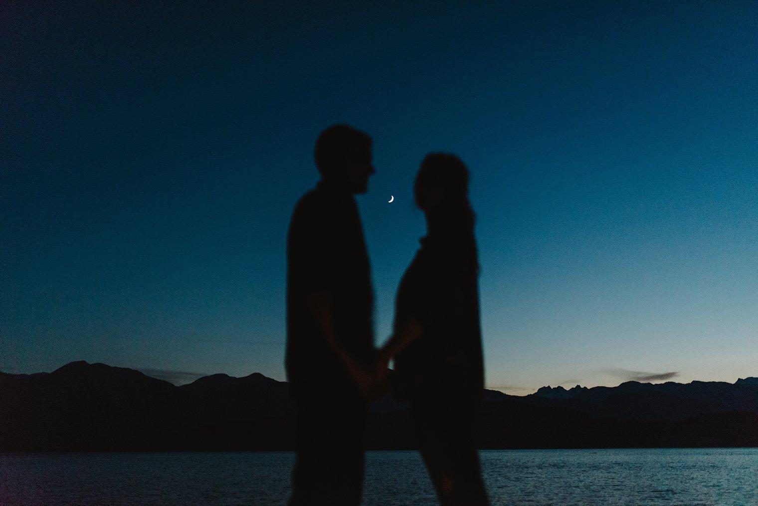 moonlight engagement portraits