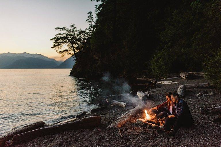 sunset campfire engagement portrait