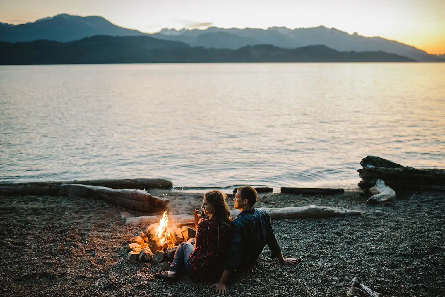 engagement session with campfire