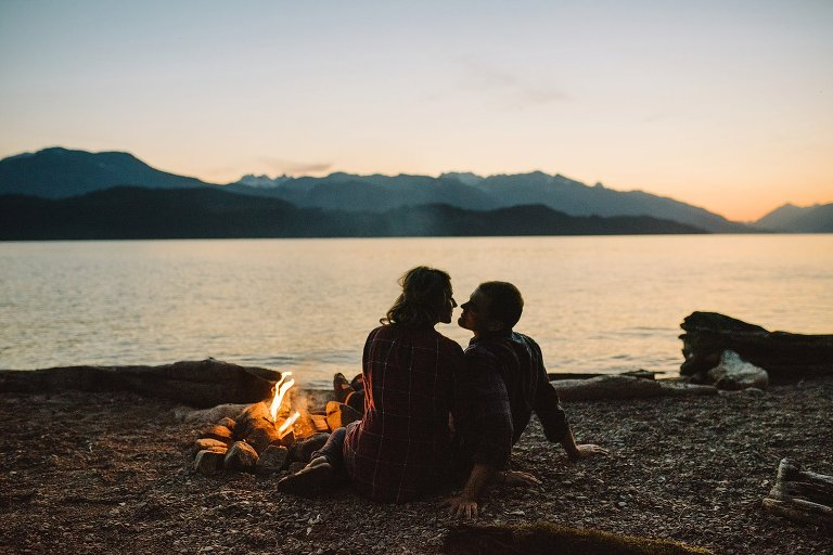 campfire engagement session at harrison lake