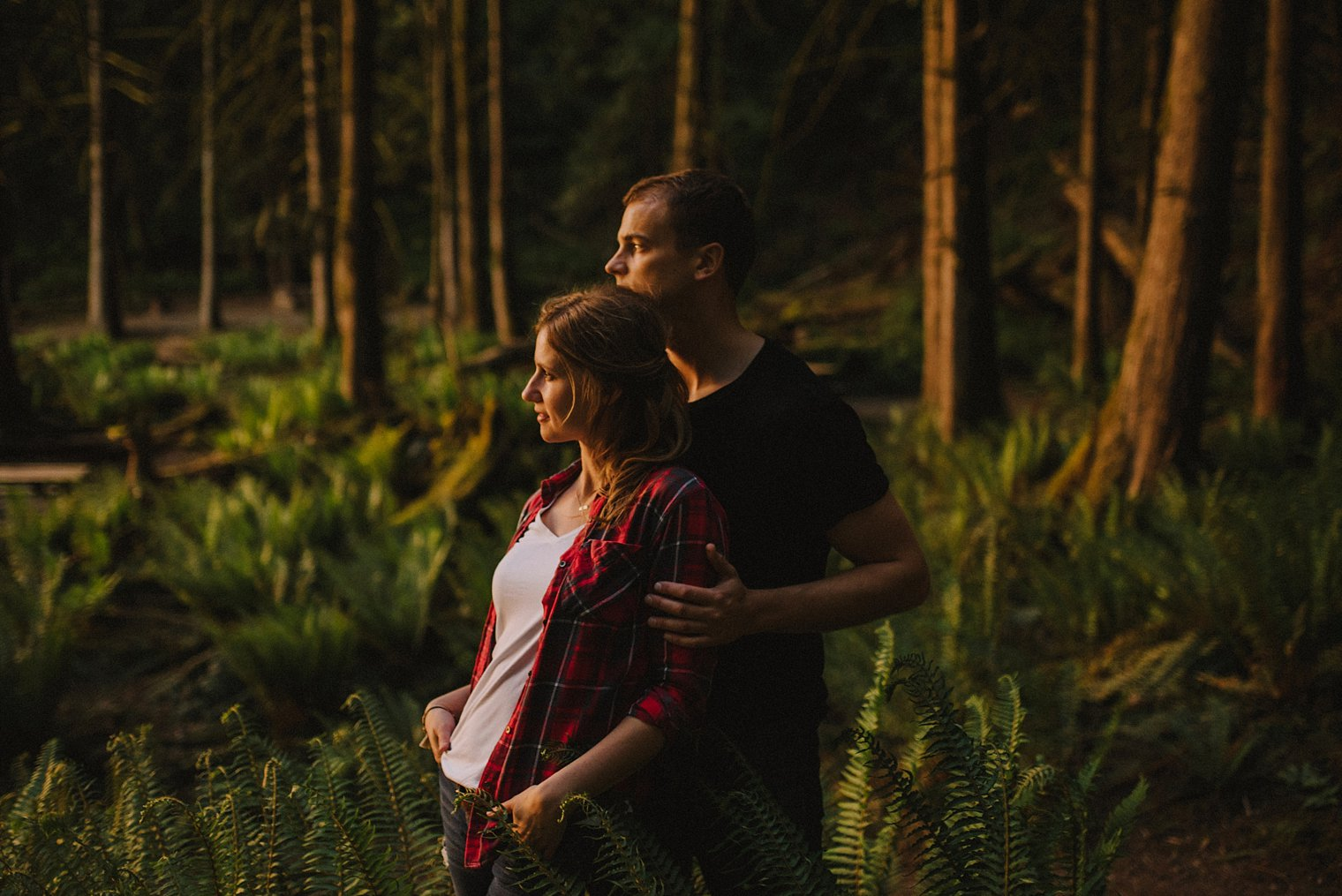 sunset portraits in forest near harrison lake