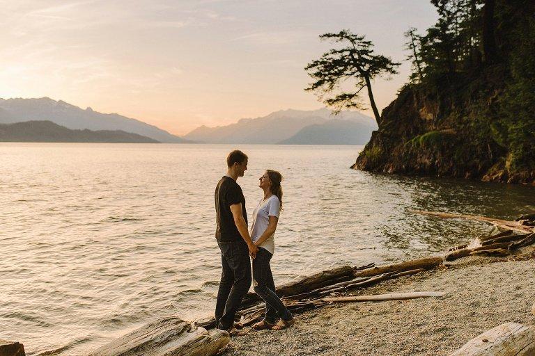 sunset engagement session at harrison lake