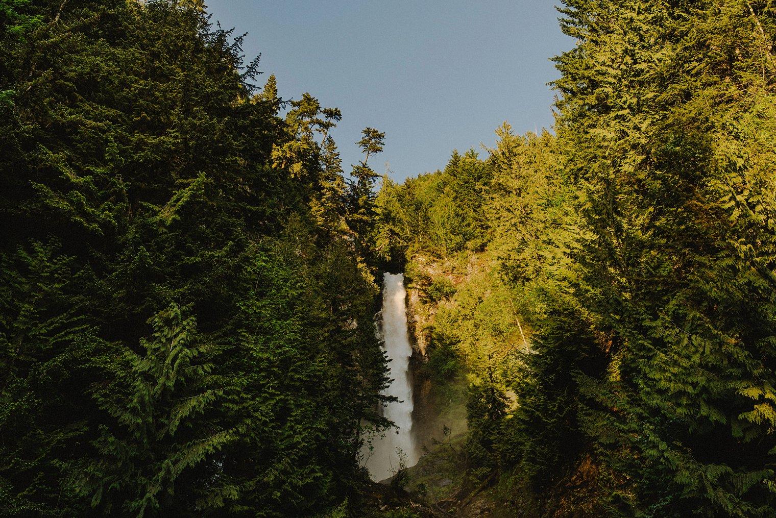 harrison lake waterfall engagement