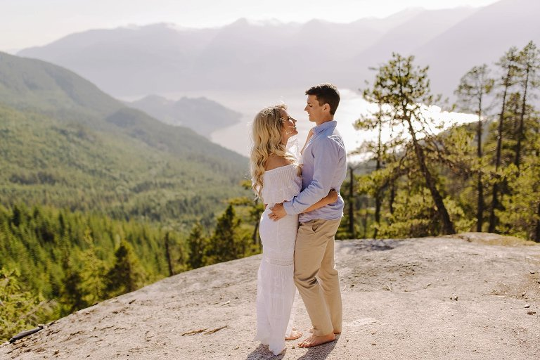 intimate engagement portrait on squamish mountain