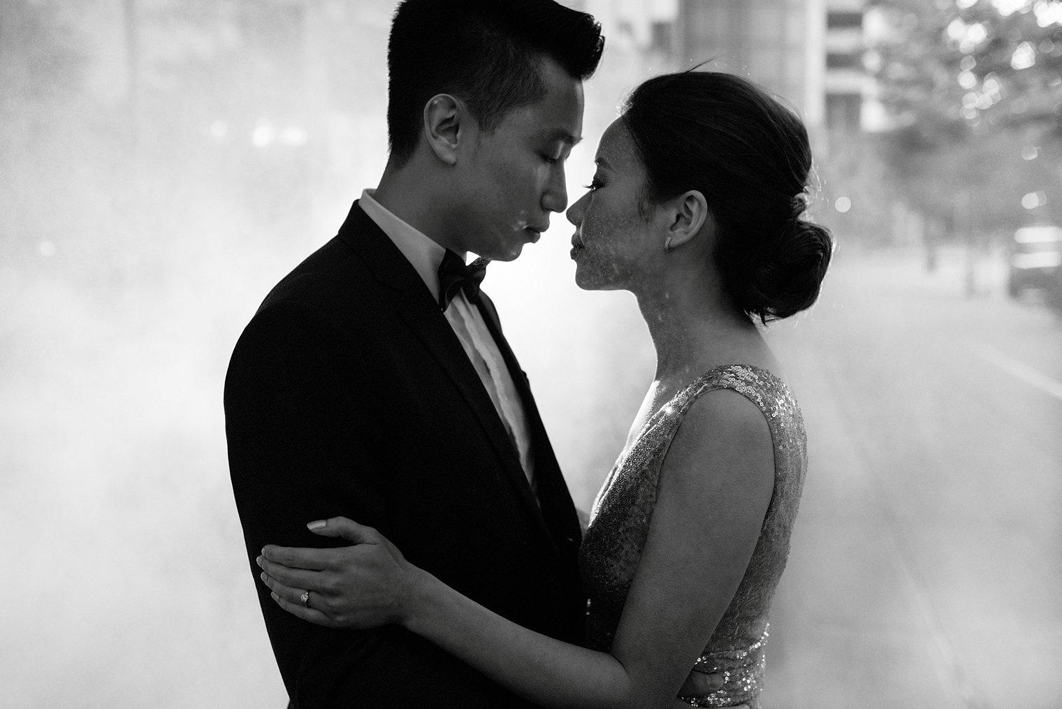 Engagement Portrait In Mist Downtown Vancouver Bc Vancouver And Destination Wedding