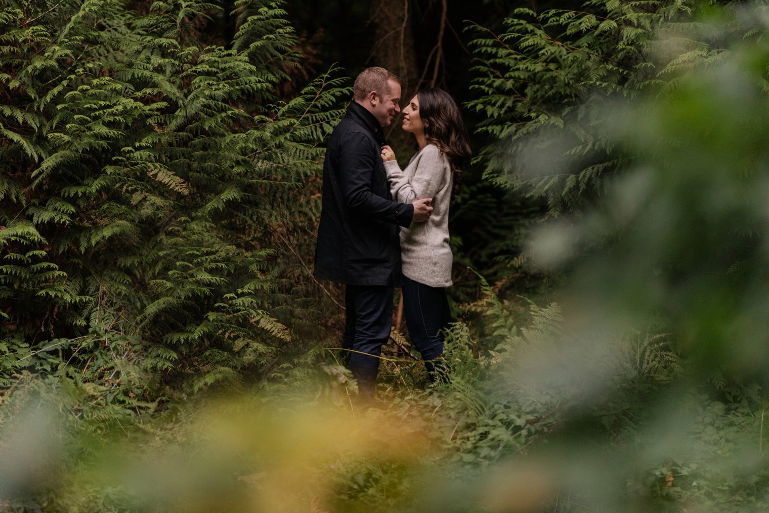 forest engagement photos in pacific spirit park in vancouver