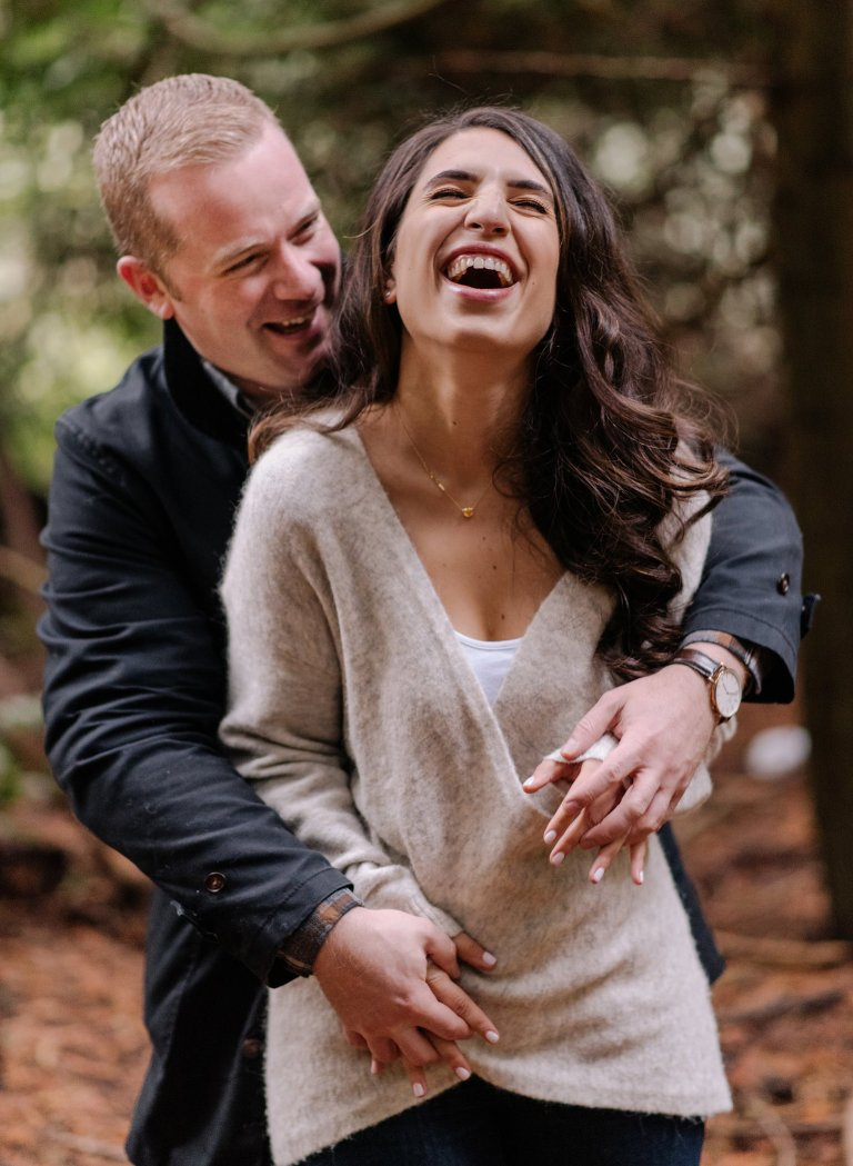 candid vancouver forest engagement photos