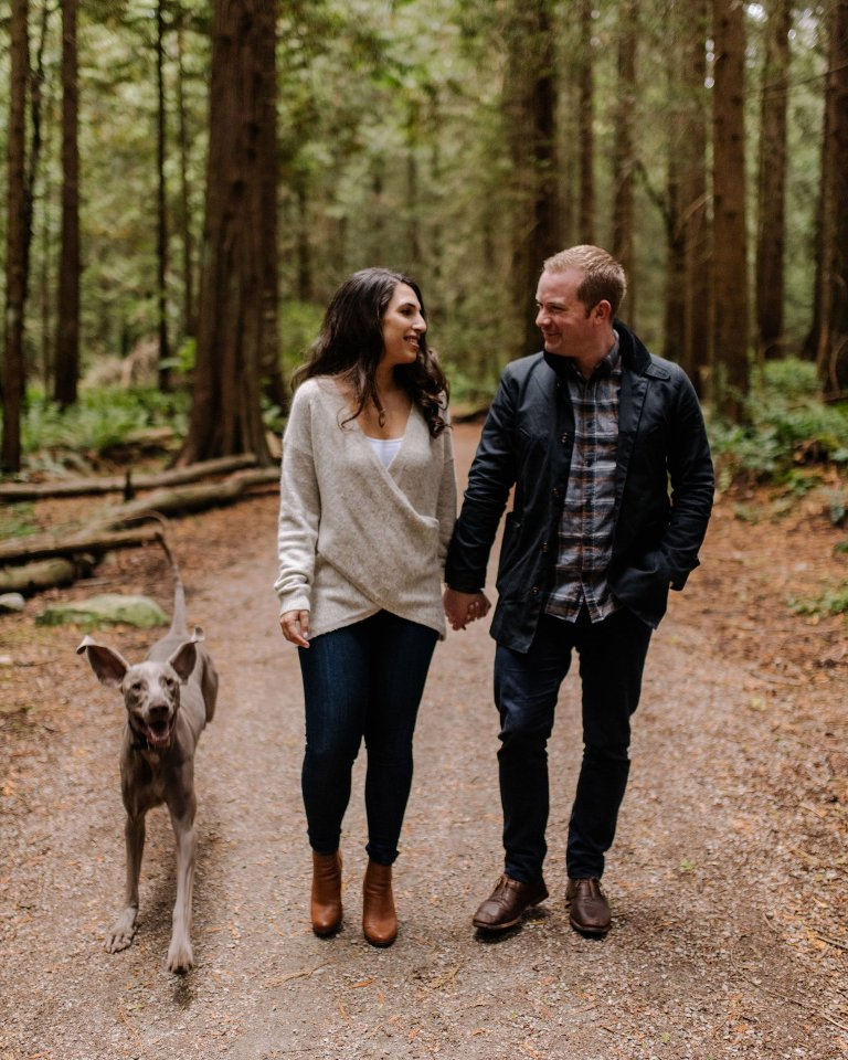 vancouver forest engagement photos with dog