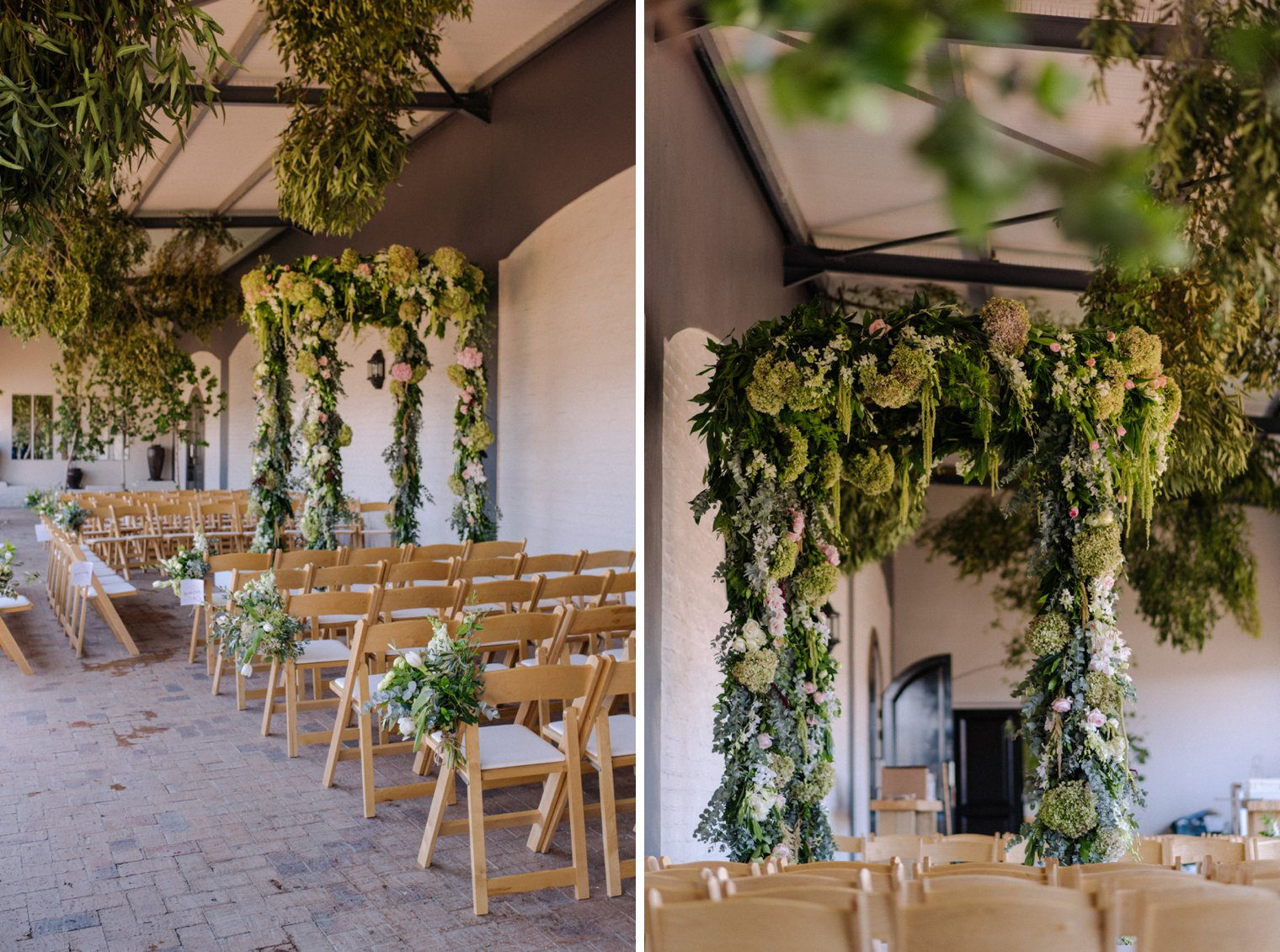 indoor wedding ceremony at kronenburg in stellenbosch
