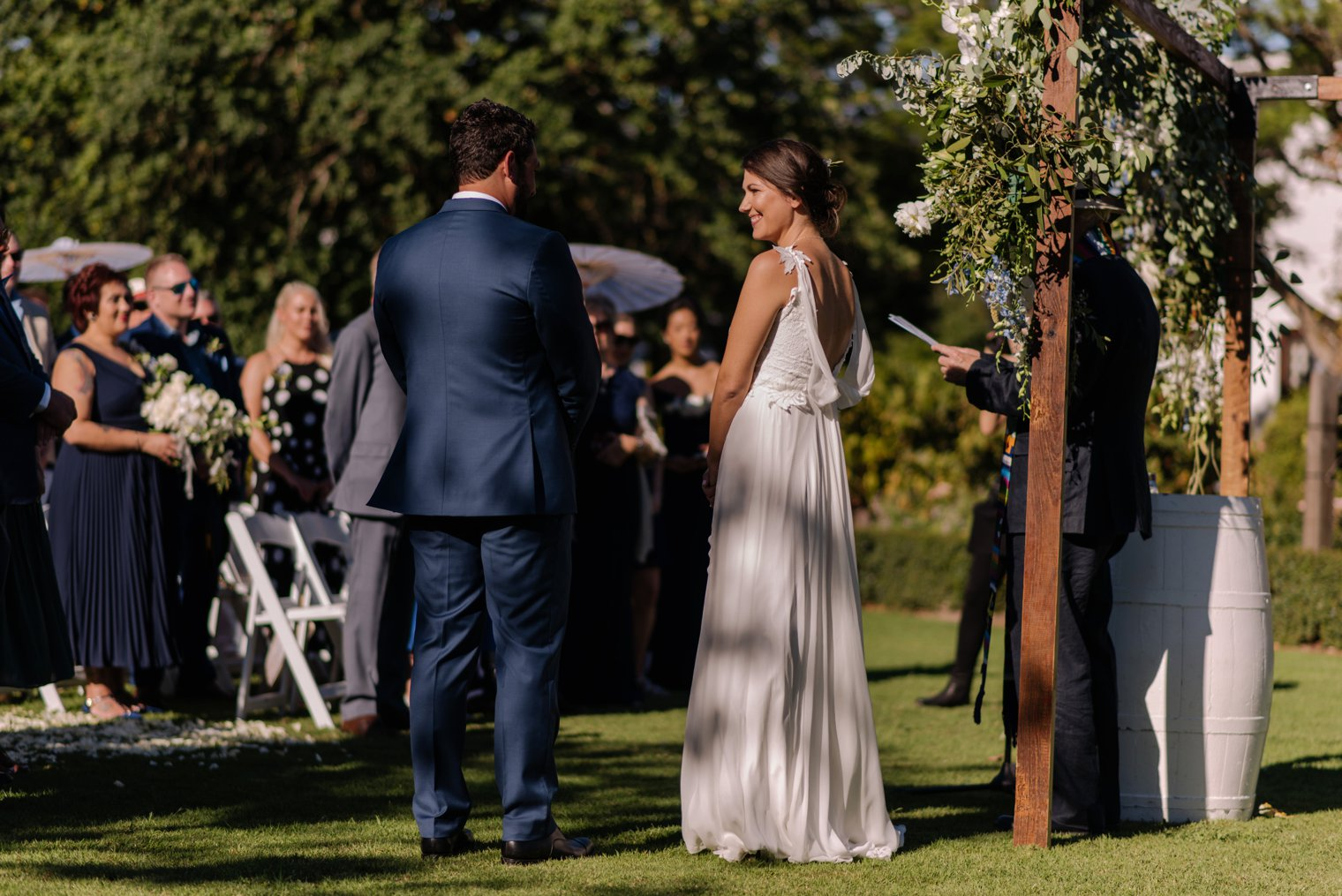 outdoor wedding ceremony at vrede en lust estate in franschoek