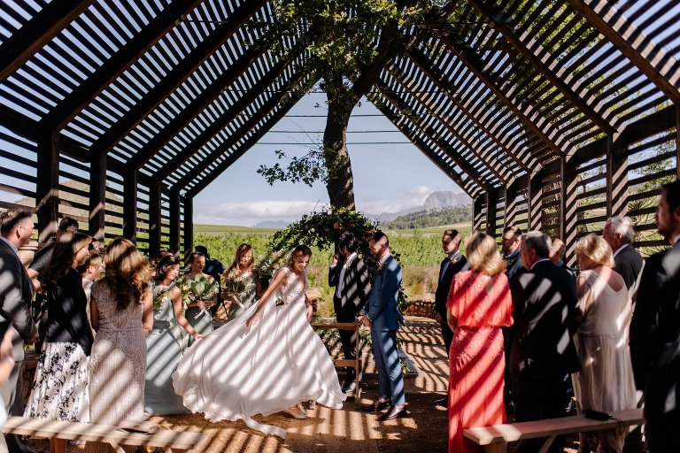wedding ceremony at house of shadows at babylonstoren