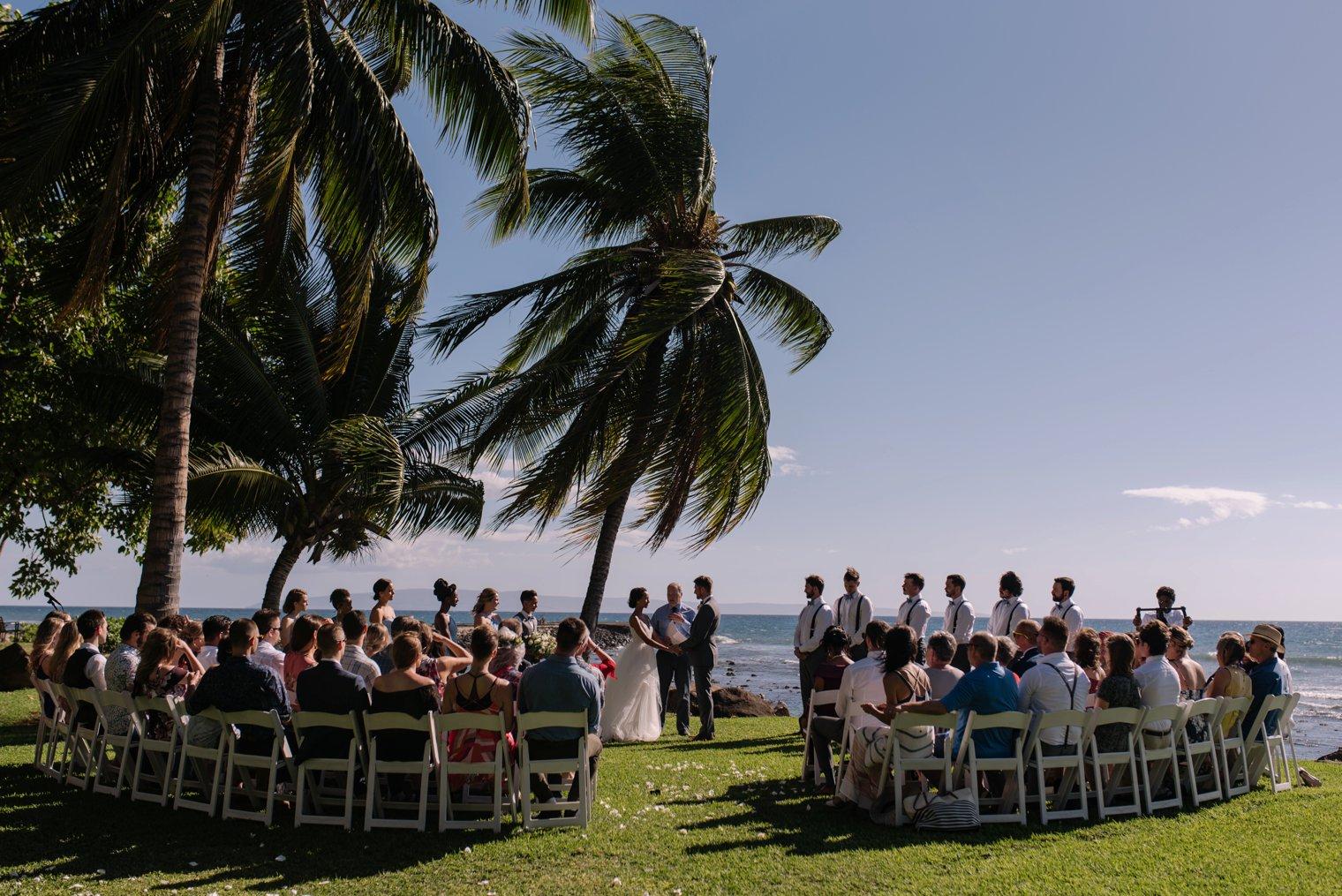 destination wedding ceremony at olowalu plantation house on maui