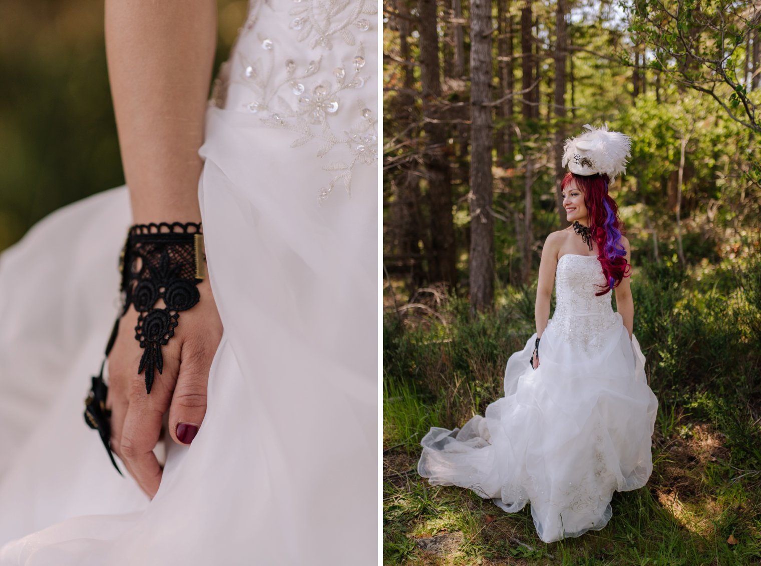 steampunk bride in the forest
