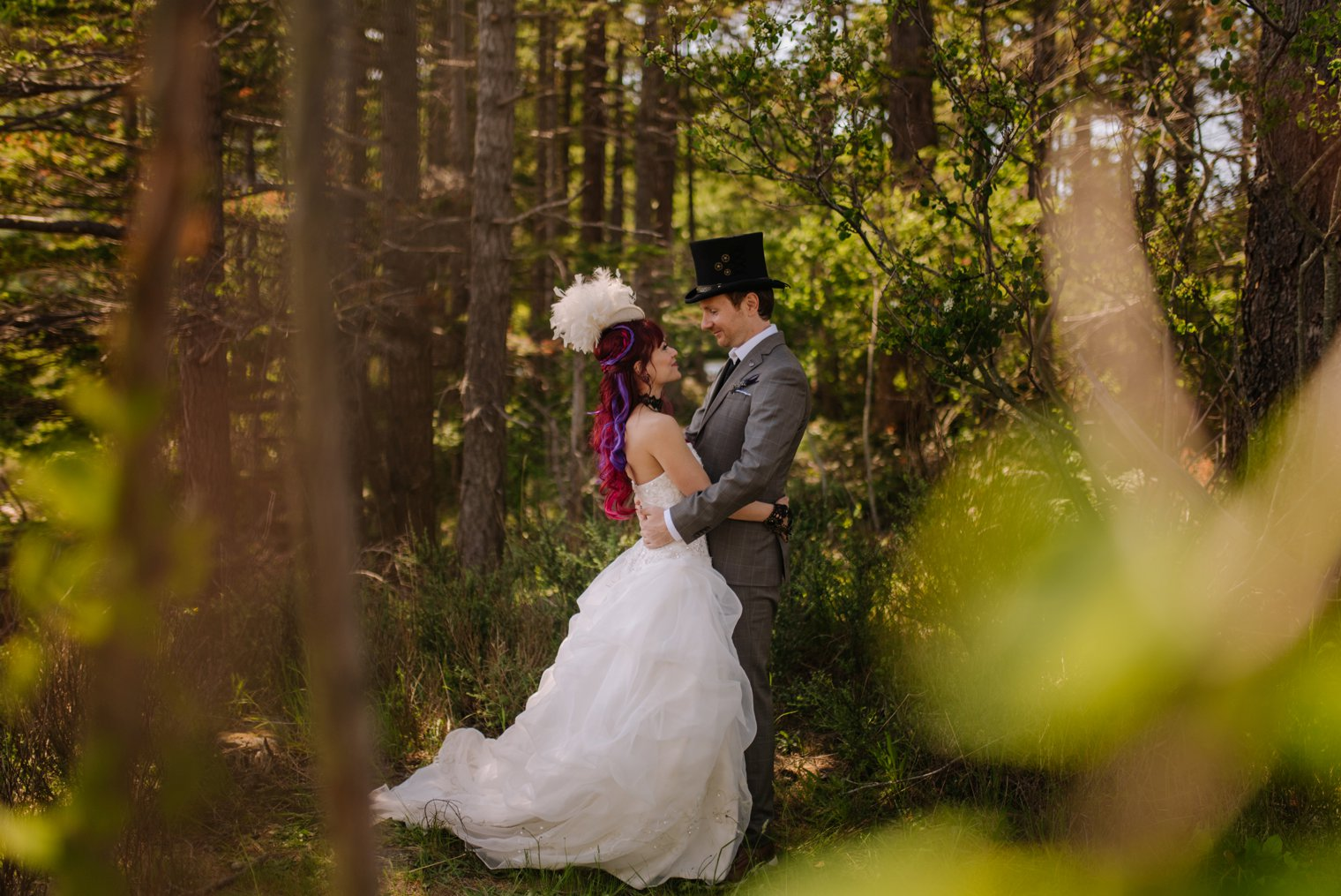 steampunk wedding in the forest