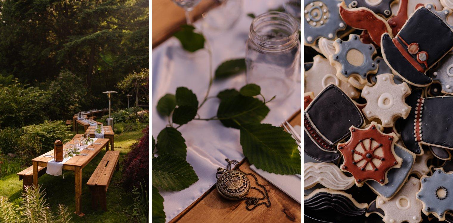 steampunk garden wedding details