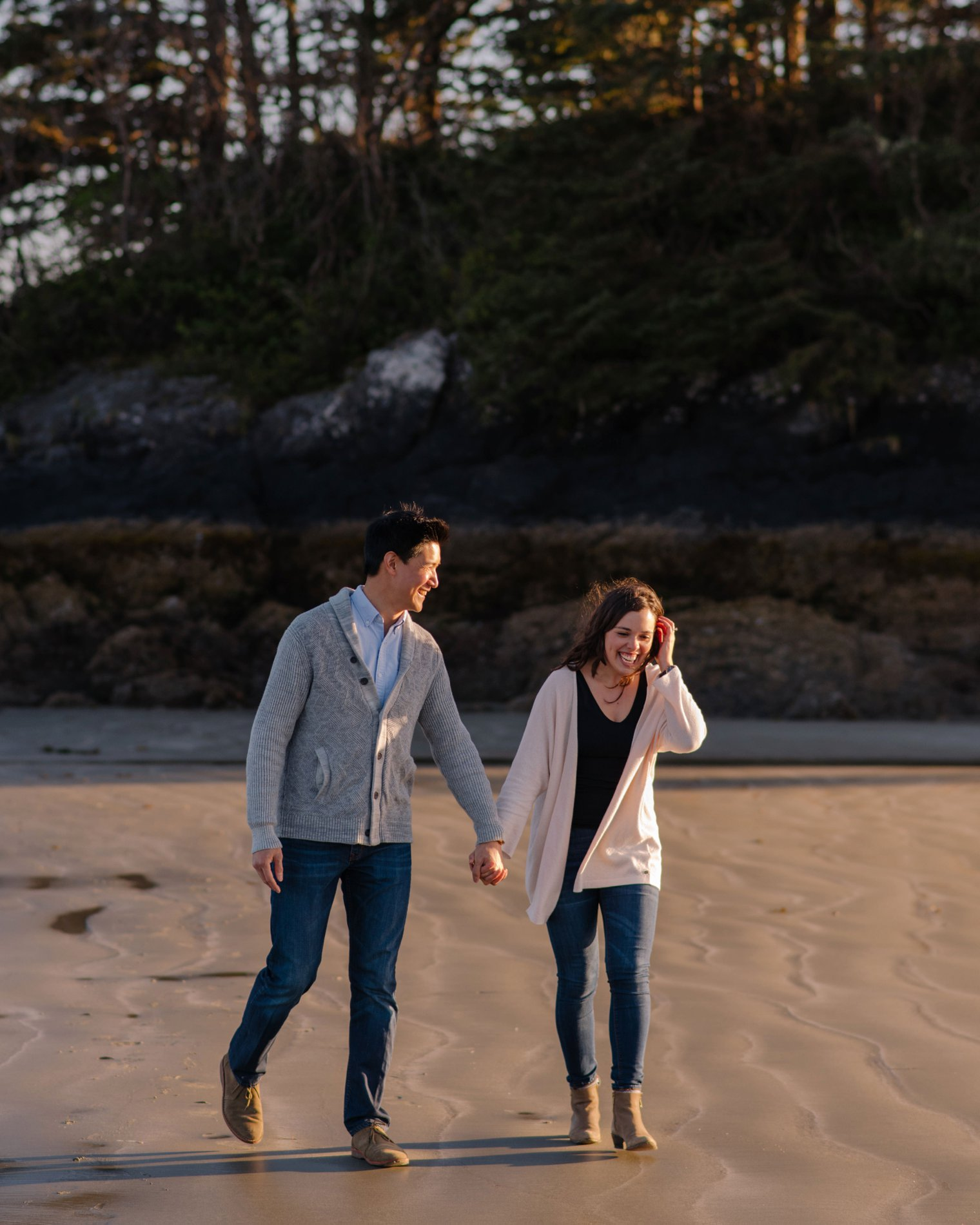 engagement photos on chesterman beach in tofino