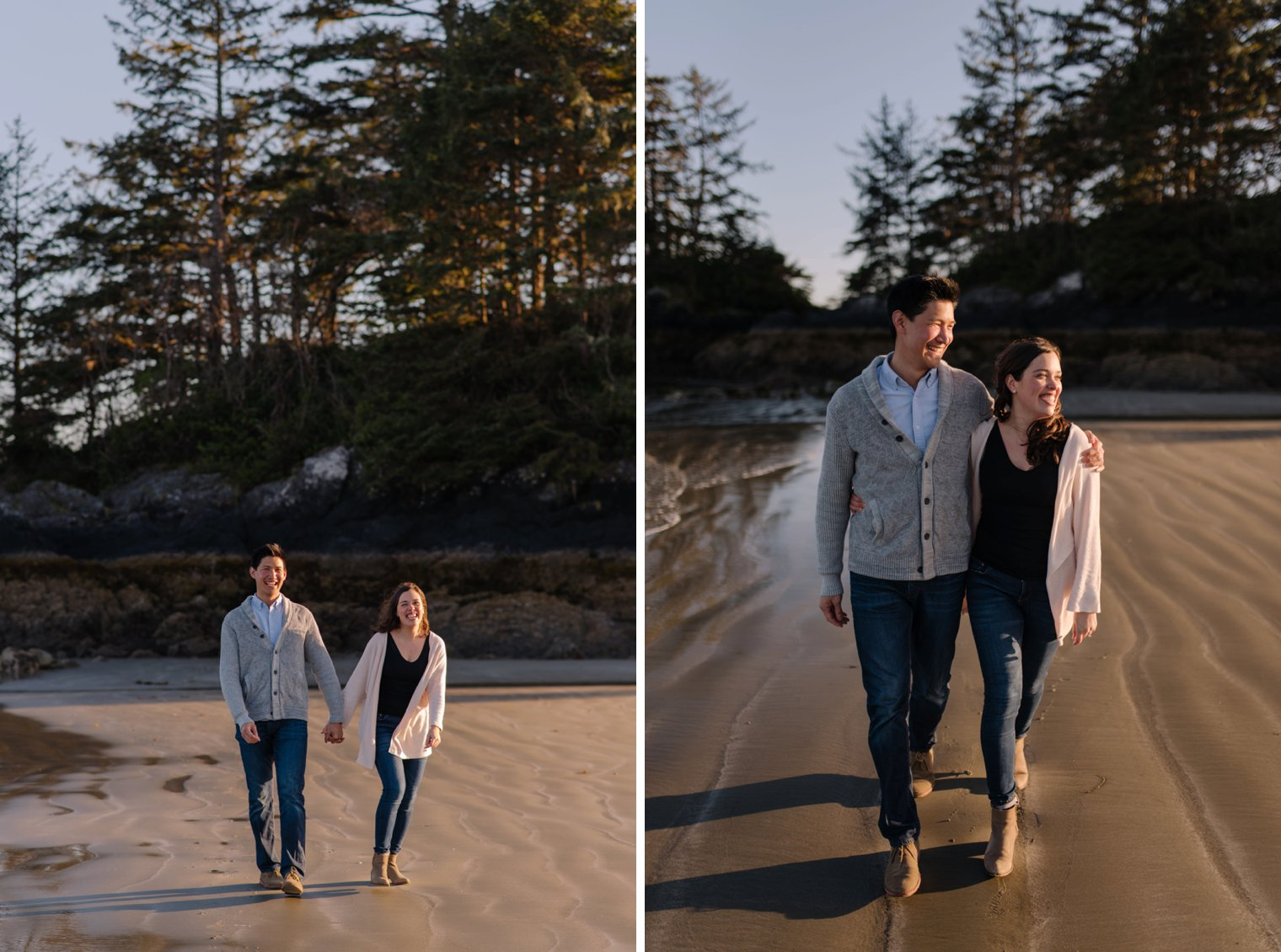 engagement pictures on beach in tofino