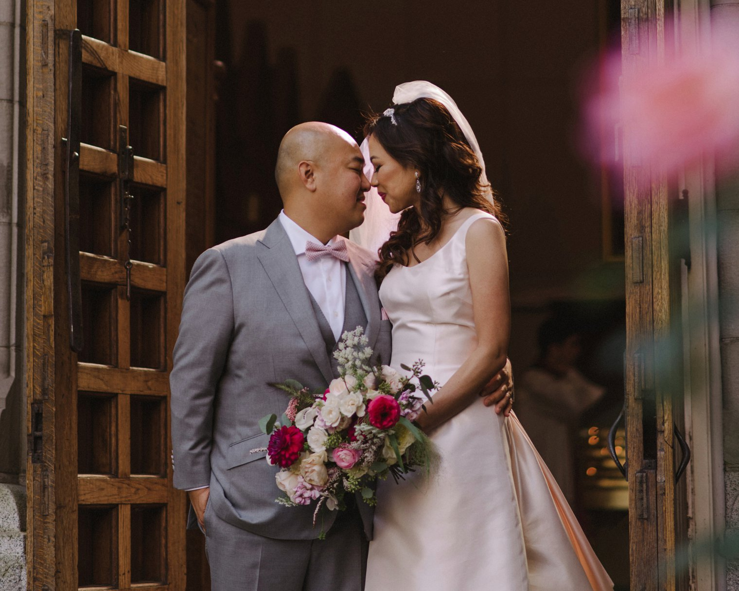wedding portrait at holy rosary cathedral in vancouver