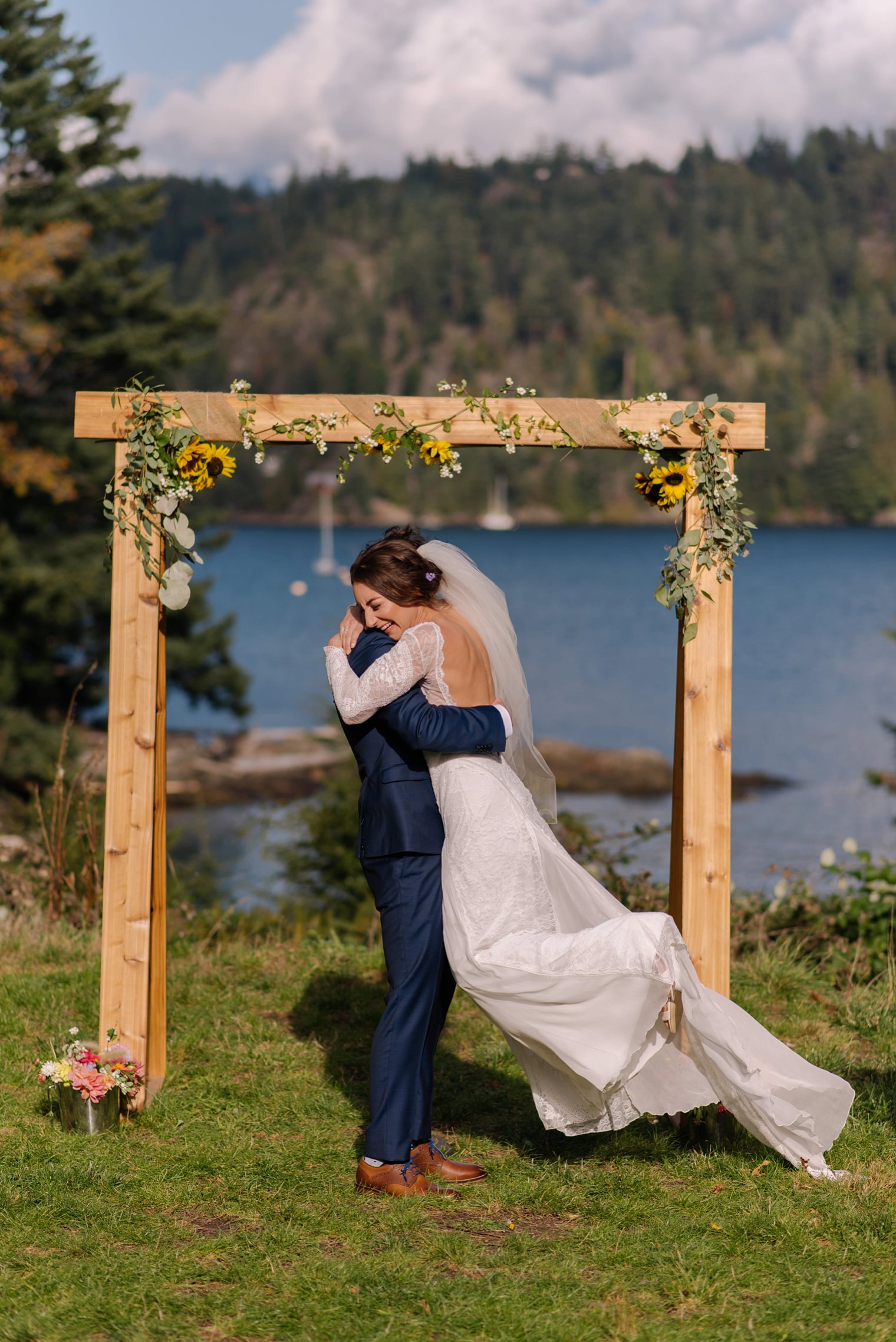 outdoor wedding ceremony at camp fircom