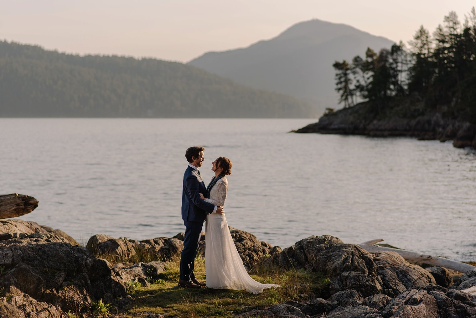 wedding photo at camp fircom on gambier island